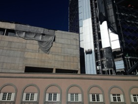 The hotel has soaring high-rise construction close by..