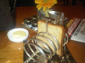 At breakfast, the toast comes in a rack