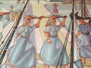 Barcacas do Tijo painting, Carlos Botelho, 1899-1982