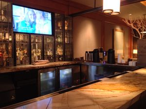 From the lobby progress via a sports bar…