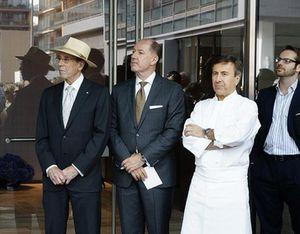Isadore Sharp, in hat, Dimitri Zarikos and Daniel Boulud