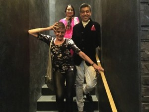 On the stairs into Breeze, Deepa and Anita Ohri