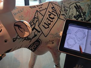 A cow welcomes you to Hublot headquarters