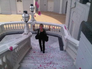 As the guest walks up the steps of Taj Hotel's Falaknuma Palace in Hyderabad, a rain of fresh rose petals flutters down
