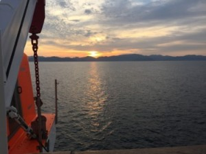 Sunrise as we sail to Hagi