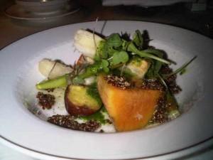 Pachmanca of local vegetables in Orient Express' Hiram Bingham luxury train in Peru