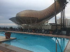 Look across the pool to the Gehry fish