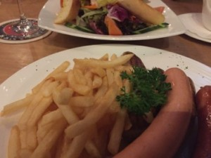 Sausages and fries, and a salad