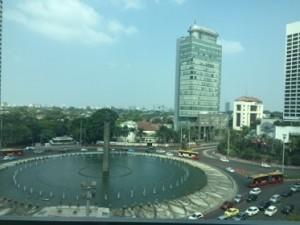 Looking down, from suite 830, at Jakarta's Bunderan HI circle