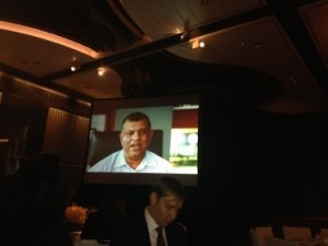 Tony Fernandes, sticking plaster'n'all, lunches as he is interviewed