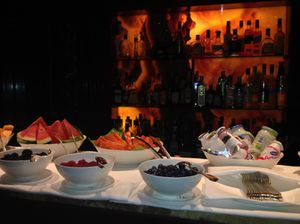 One breakfast buffet in front of the main bar