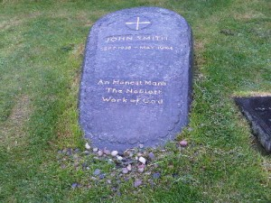 The simple, but moving, memorial stone for John Smith, on Iona