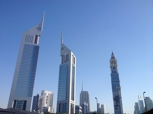 Jumeirah's two towers, to the left