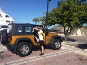 Getting into Paul's Jeep