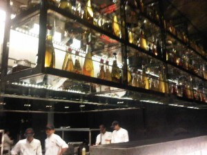 An area of the open kitchen in Le Cirque, Delhi, India