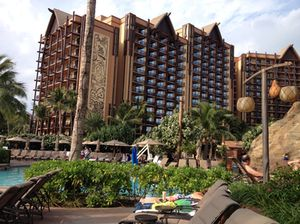 Looking up (over the lazy river) at one of Aulani's towers