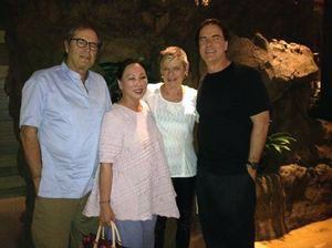 Paul Theroux, Sheila Sonnely, Mary Gostelow and Jeff Stone at Aulani, a Disney Resort & Spa at Ko Olina. Oahu, Haway