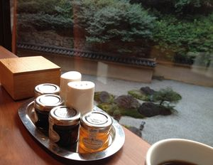 Breakfast, looking out at a Japanese garden