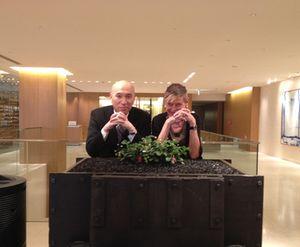 Ken Yokoyama leans on a strawberry-filled 'art-work'