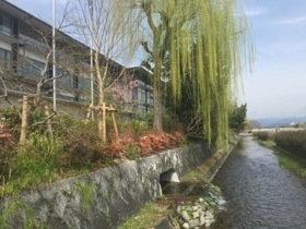 Looking along the river-side exterior of the hotel