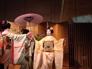Maiko geishas, in a dance