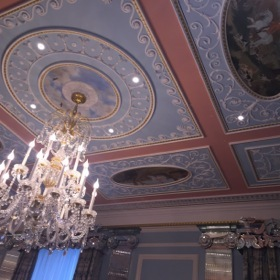 Looking up at the ballroom ceiling