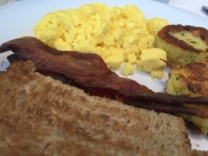 American breakfast, with wholewheat toast