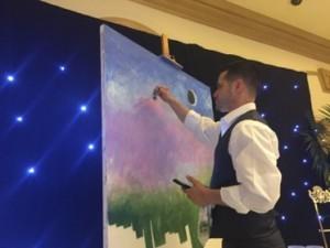 An artist paints a blank canvas...