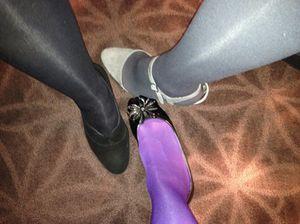 A trio of colourful legs