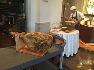 Parma ham table in the lobby