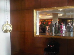 Lobby view - reflected in the mirror - of the iconic hotel luxury hotel in Mumbai, India