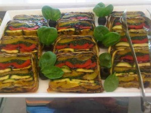 Olea's lunch buffet includes painstakingly-constructed vegetable terrine slices