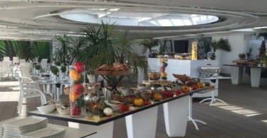 View of the buffet at Hotel Majestic Barrière's new beach club in Cannes