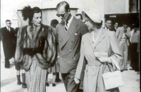 Princess Elizabeth and the Duke of Edinburgh with, left, Countess Mountbatten, on Malta