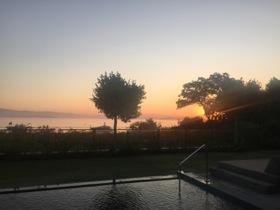 Sunrise over 209's pool