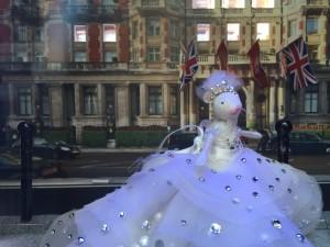 Harrods window, showing 'Mandarin Oriental London'