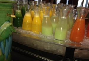 Healthy juices on the breakfast buffet