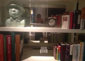 Looking through a well-stocked bookshelf...