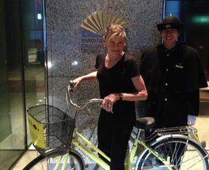 Yellow bike, with GirlAhead on its basket