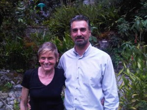 Marc Yeterian and Luxury travel writer Mary Gostelow at Machu Picchu's Sanctuary Lodge