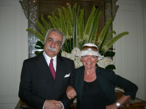 Marcel Levy, characterful boss of The Eden luxury hotel, Rome, Italy, and travel writer Mary Gostelow