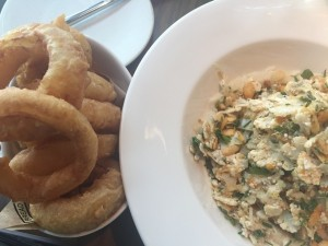 Shaved cauliflower salad and onion rings