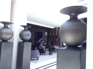 Pots in the art gallery-lobby
