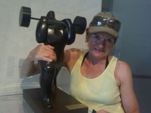 Mary Gostelow and sculpture at the gym of St Regis Singapore