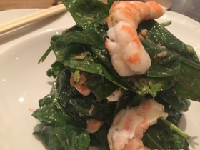 Best-selling prawns and spinach salad