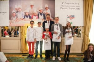Marc Lannoy with winners of Junior Master Chef Rome