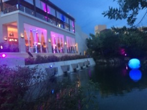 Fairmont Mayakoba's main building was dressed in party gear...
