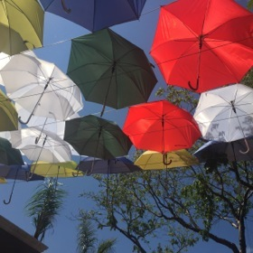 But there is lots of fun - umbrellas provide shade at one lunch