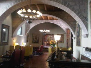 A lounge at Orient Express' luxury Hotel Monasterio in Cusco, Peru
