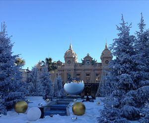 Looking through a Christmas landscape to the casino